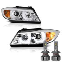 Cree LED Low Beam + 06-08 BMW 3-Series E90 4DR LED Halo Projector Headlights - Chrome