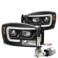 Cree LED Low Beam + 06-08 Dodge RAM 1500|06-09 2500 3500 LED DRL Projector Headlights - Black