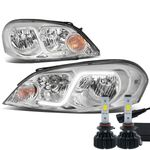 LED Low Beam + 06-13 Chevy Impala / 06-07 Monte Carlo LED DRL Tube Headlights - Chrome Clear
