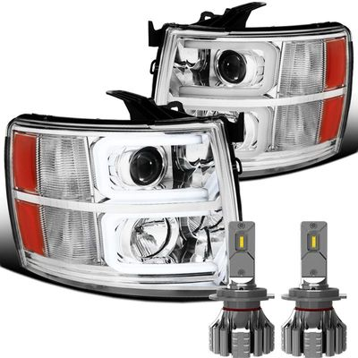 LED Low Beam + 07-13 Chevy Silverado LED DRL Tube Projector Headlights - Chrome