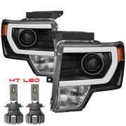 CREE LED Low Beam + 09-14 Ford F-150 [Halogen Model] LED DRL Projector Headlights - Black