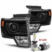 LED Low Beam + 09-14 Ford F-150 [Halogen Model] Projector Headlights - Black