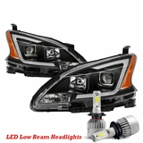 LED Low Beam + 13-15 Nissan Sentra Matte Black LED DRL Projector Headlights
