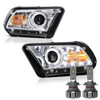 Cree LED Low Beam + 2010-2013 Ford Mustang Angel Eye Halo & LED Projector Headlights - Chrome