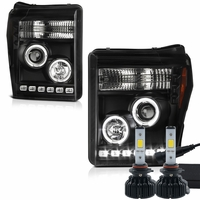 LED Low Beam + 2011-2016 Ford F250 F350 Superduty LED Halo Projector Headlights - Black
