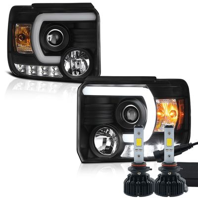 LED Low Beam + 2014-2016 GMC Sierra 1500 2500 3500 HD Sierra LED Tube Projector Headlights - Black