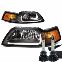 LED Low Beam + 99-04 Ford Mustang LED DRL Bar Headlights - Black / Amber