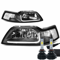 LED Low Beam + 99-04 Ford Mustang LED DRL Bar Headlights - Black / Clear