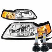 LED Low Beam + 99-04 Ford Mustang LED DRL Bar Headlights - Chrome / Amber