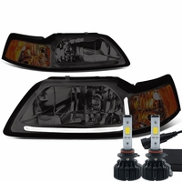 LED Low Beam + 99-04 Ford Mustang LED DRL Bar Headlights - Smoked / Amber