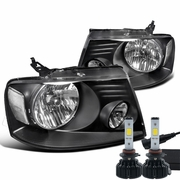 LED Power + 04-08 Ford F150 Crystal Replace Headlights - Black