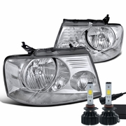 LED Power + 04-08 Ford F150 Crystal Replace Headlights - Chrome