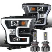 LED Power + 15-17 Ford F150 [Halogen Model] LED DRL Projector Headlights - Black