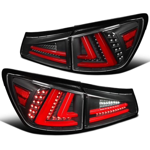 Lexus 2006-2008 IS250 IS350 Red LED Tube Black Tail Lights Rear Brake Lamps