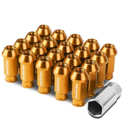 ( M12 x 1.25 ) 20-Piece Aluminum AlloyWheel Lug Nuts + Deep Drive Extension - Orange