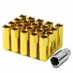 M12 x 1.25 Open End 20-Piece Anodized Aluminum Alloy Wheel Lug Nuts Nuts + Deep Drive Extension - Gold