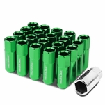 M12 x 1.25 Open End 20-Piece Anodized Aluminum Alloy Wheel Lug Nuts Nuts + Deep Drive Extension - Green