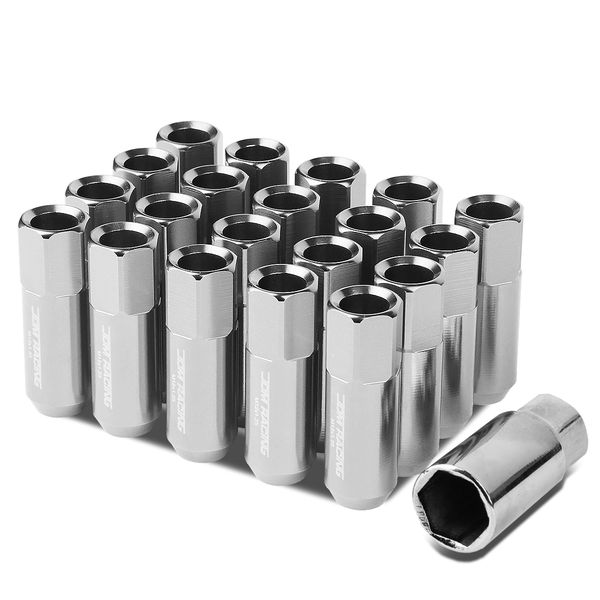M12 x 1.25 Open End 20-Piece Anodized Aluminum Alloy Wheel Lug Nuts Nuts + Deep Drive Extension - Silver