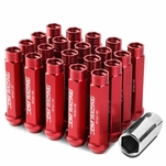 M12 x 1.5 Open End 20-Piece Aluminum Alloy Wheel Lug Nuts + Deep Drive Extension - Red