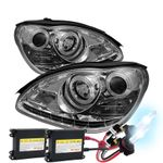 Mercedes Benz W220 S-Class 00-06 DRL LED Projector Headlights - Chrome with HID Kit