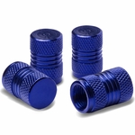 Meshed Style Polished Aluminum Tire Valve Stem Cap (Pack of 4) - Blue