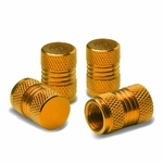 Meshed Style Polished Aluminum Tire Valve Stem Cap (Pack of 4) - Gold