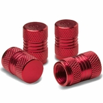Meshed Style Polished Aluminum Tire Valve Stem Cap (Pack of 4) - Red