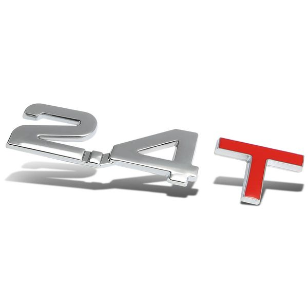 Metal Emblem Decal Logo Trim Badge - 2.4T - Silver/Red Letters