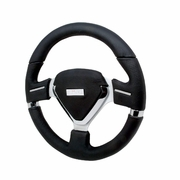 Milleium Evo Style Black Leather Steering Wheel - 330Mm
