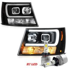 LED Low Beam + 07-13 Chevy Avalanche / 07-14 Suburban Tahoe LED DRL Projector Headlights - Black