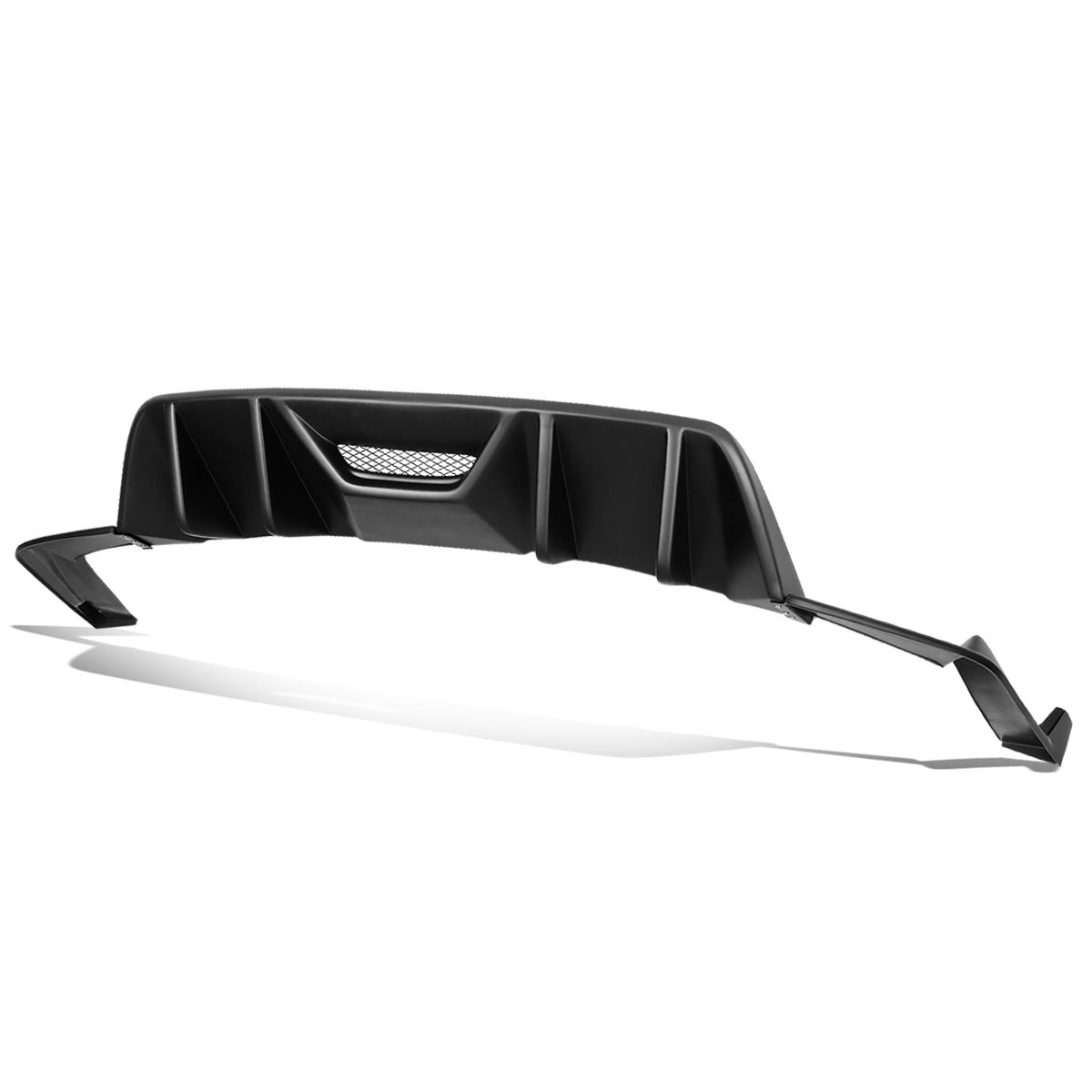 Fit 2015-2017 Ford Mustang ABS Quad Fin Rear Diffuser+Pair Side Valence Body Kit