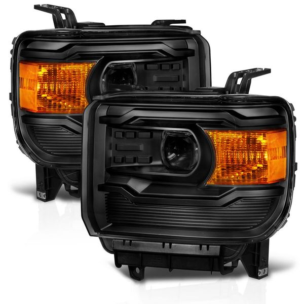 2014-2016 GMC Sierra 1500 2500HD 3500HD Retro-Style Projector Headlights - Black