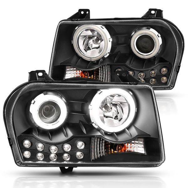 05-10 Chrysler 300 [High-Power LED Halo] Projector Headlights - Black