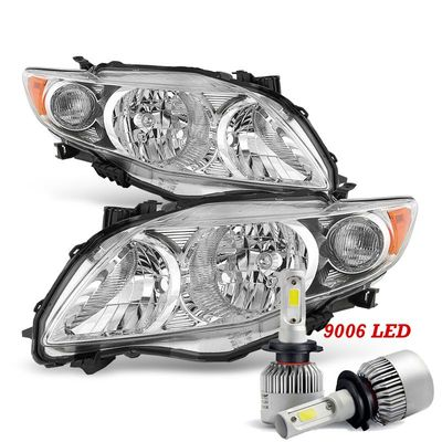 LED Low Beam + 09-10 Toyota Corolla OE-Style Headlights - Chrome