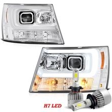 LED Low Beam + 07-13 Chevy Avalanche / 07-14 Suburban Tahoe LED DRL Projector Headlights - Chrome