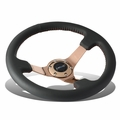 "NRG 35Cm 3""Deep Dish Rose Gold Spoke Leather Handle Red Stitch Steering Wheel"