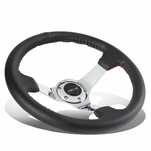 NRG 35Cm Leather Red Stitch 3-inch Deep Dish Chrome Spoke Steering Wheel+Horn Button