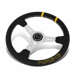 NRG 36Cm Silver Spoke Bumble Bee Leather Grip Steering Wheel W/Dual Center Mark