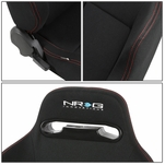 NRG Type-R Red Stitches Sports Racing Seats+Universal Sliders Passenger Side