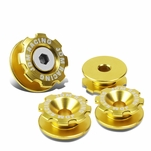 Pack of 4 - Anodized Aluminum Front Left / Right Gear Style Bumper Trunk Quick Release Fastener Kit - Gold
