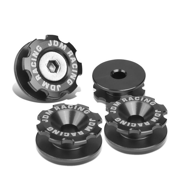 Pack of 4 - Anodized Aluminum Front Left / Right Gear Style Bumper Trunk Quick Release Fastener Kit - Gun Metal
