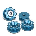 Pack of 4 - Anodized Aluminum Front Left / Right Gear Style Bumper Trunk Quick Release Fastener Kit - Light Blue