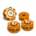 Pack of 4 - Anodized Aluminum Front Left / Right Gear Style Bumper Trunk Quick Release Fastener Kit - Orange