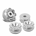 Pack of 4 - Anodized Aluminum Front Left / Right Gear Style Bumper Trunk Quick Release Fastener Kit - Silver
