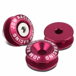 Pack of 4 - Anodized Aluminum Front/Rear Rivet Style Bumper Trunk Quick Release Fastener Kit - Pink