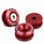Pack of 4 - Anodized Aluminum Front/Rear Rivet Style Bumper Trunk Quick Release Fastener Kit - Red