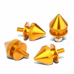 Pack of 4 - Anodized Aluminum Front/Rear Spike Style Bumper Trunk Quick Release Fastener Kit - Orange