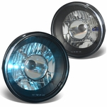 Pair 7X7 Inch H6024 Round Glass Lnes Projector Headlight Lamps - Black Housing