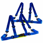 Pair Blue Nylon Racing Seat Belt 4PT 4 Point Safety Harness