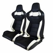 Pair JDM Black White PVC Leather Full Reclinable Racing Bucket Seats